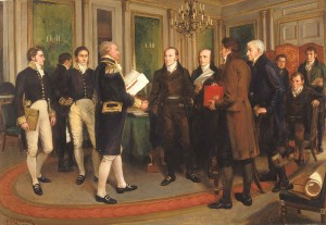 British and American governors meeting to formalize the Treaty of Ghent