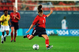 Mia Hamm playing for the U.S. Women's National Team